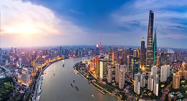 Shanghai Bund skyline panorama Shanghai Bund skyline panorama shanghai stock pictures, royalty-free photos & images