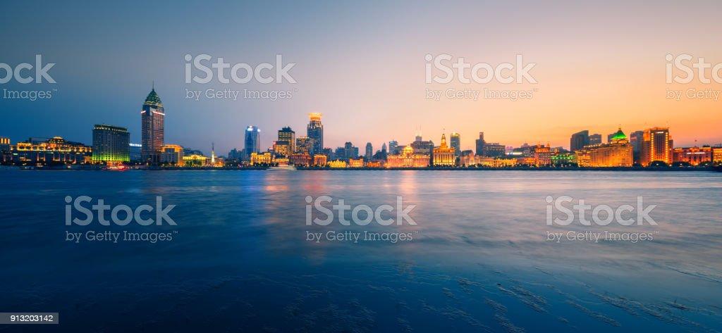 Shanghai Bund skyline panorama stock photo