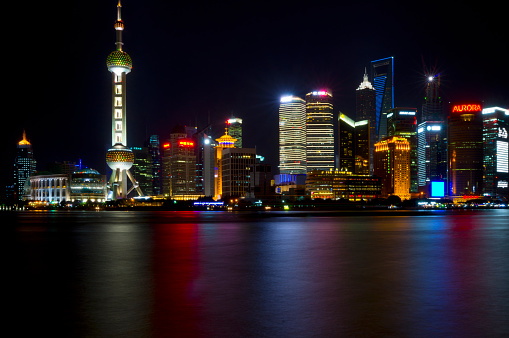 Shanghai By Night Stock Photo - Download Image Now