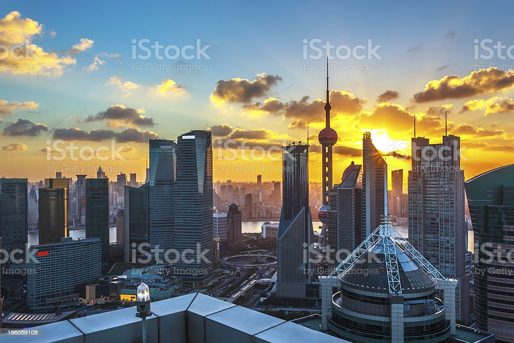Shanghai China, at sunset royalty-free stock photo