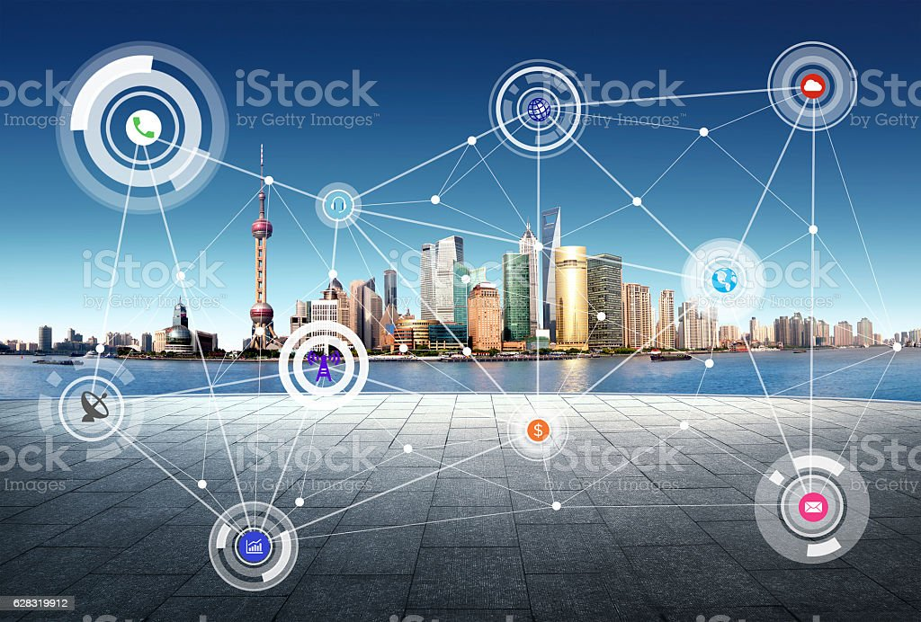 Shanghai China city scape and network connection concept stock photo