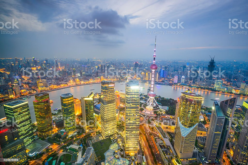 Shanghai, China City Skyline Aerial View stock photo