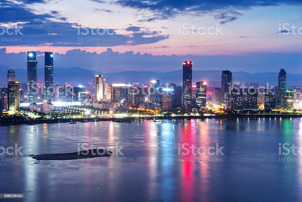 Shanghai, China city skyline on the Huangpu River stock photo