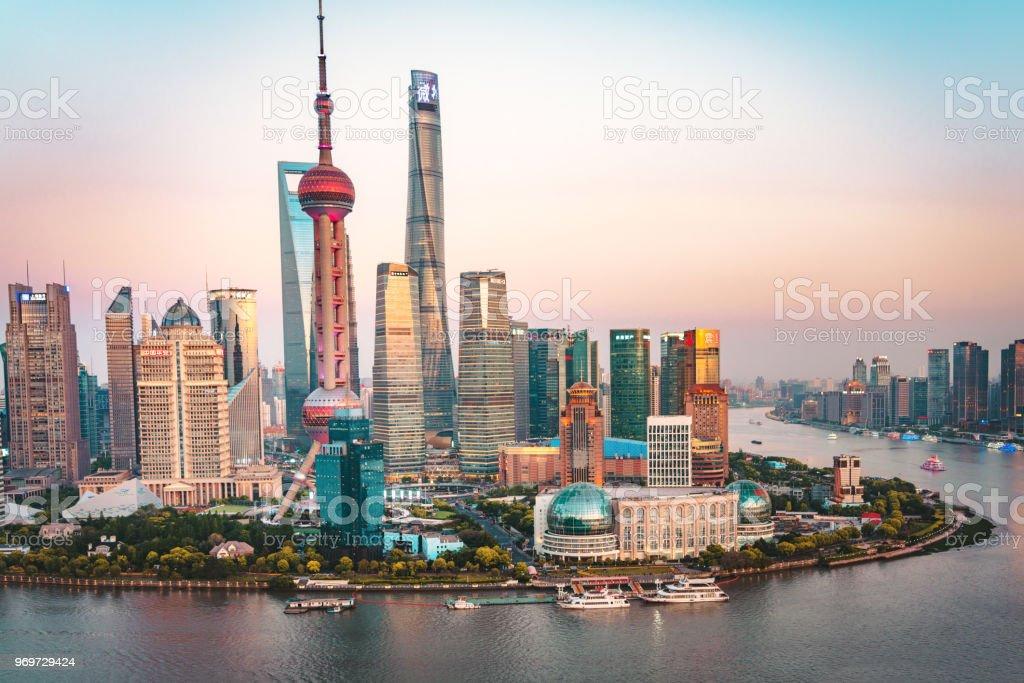 Shanghai, China - moderne Skyline - Lizenzfrei 2018 Stock-Foto