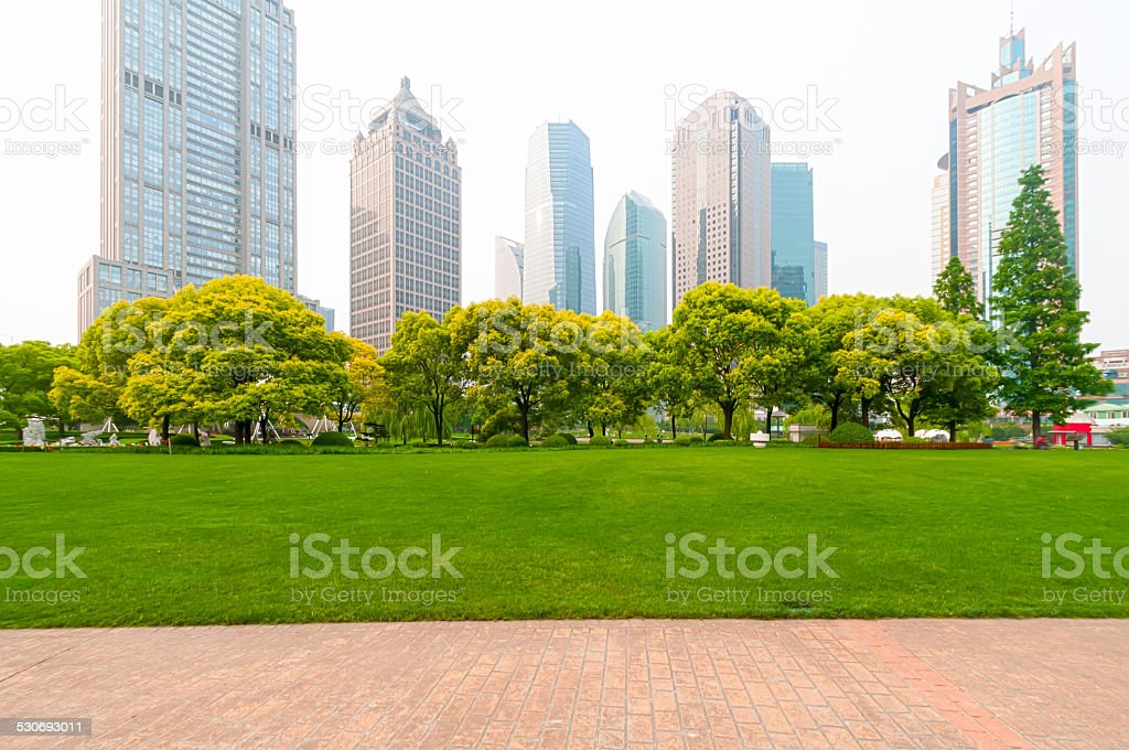 Shanghai, China, modern skyscrapers and green environment stock photo