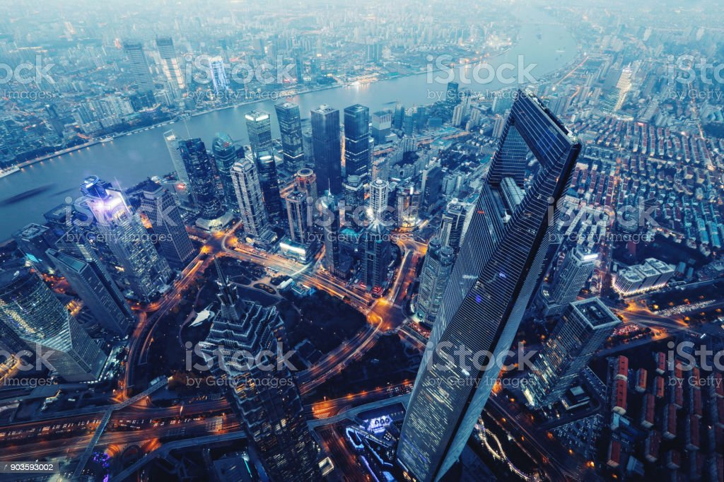 Shanghai China modern skyscrapers skyline aerial view night stock photo