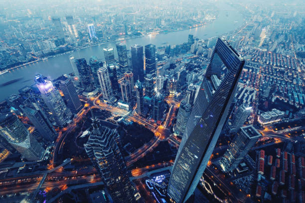 Shanghai China modern skyscrapers skyline aerial view night Shanghai China modern skyscrapers skyline aerial view night jin mao tower stock pictures, royalty-free photos & images