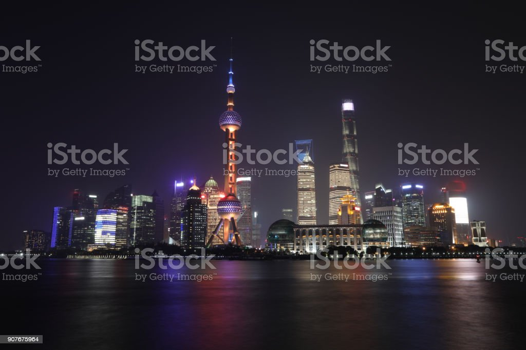 Shanghai China modern skyscrapers skyline financial district tower night stock photo