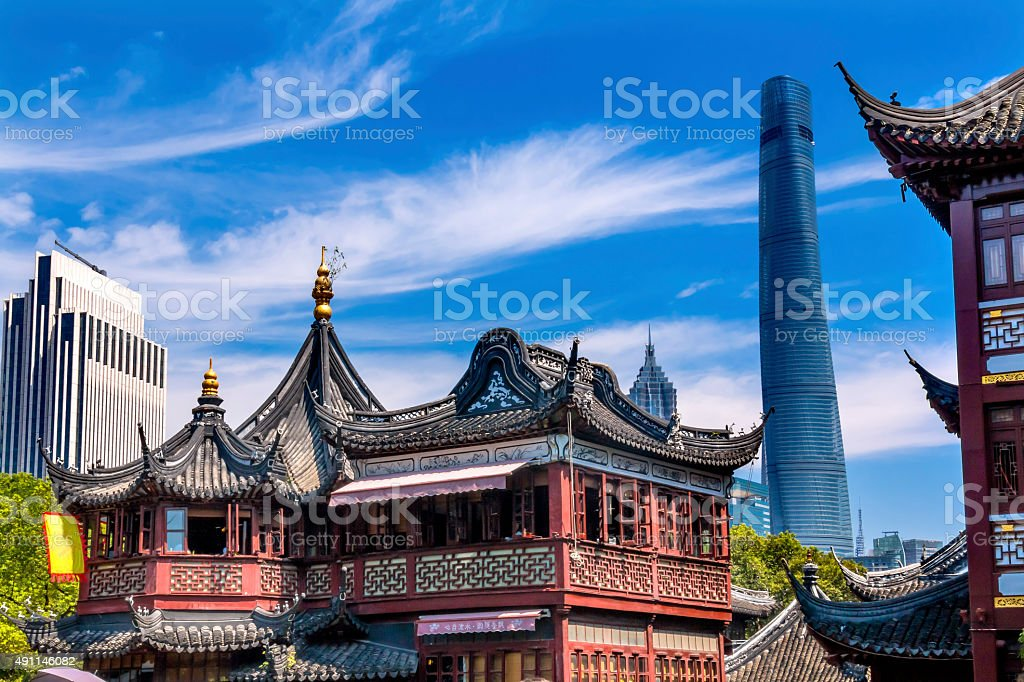 Shanghai China Old and New Shanghai Tower and Yuyuan Garden stock photo