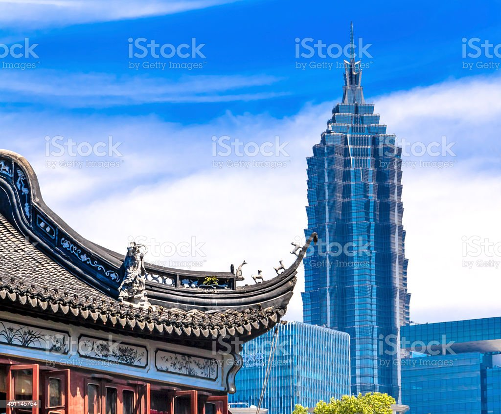 Shanghai China Old New Jin Mao Tower Yuyuan Garden stock photo