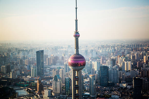 shanghai china shanghai skyline in sunrise, landscape of city. oriental pearl tower shanghai stock pictures, royalty-free photos & images