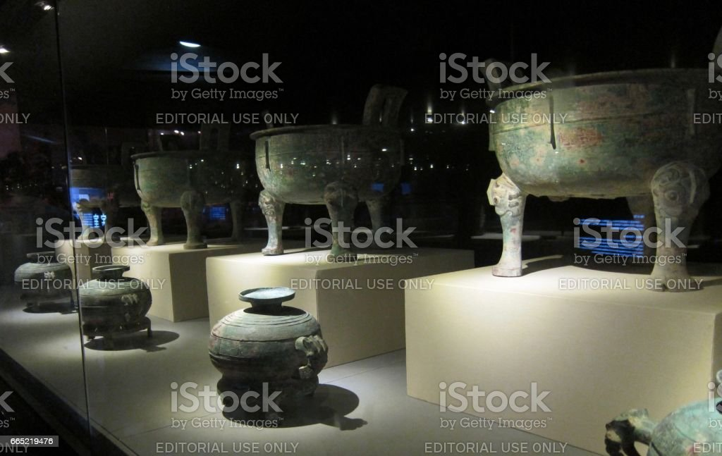 Shanghai China - September 12 2010. Ancient Chinese Ding vessels on display in World Expo stock photo