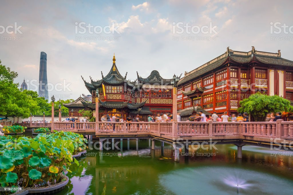 Shanghai, China view at the traditional Yuyuan Garden District stock photo