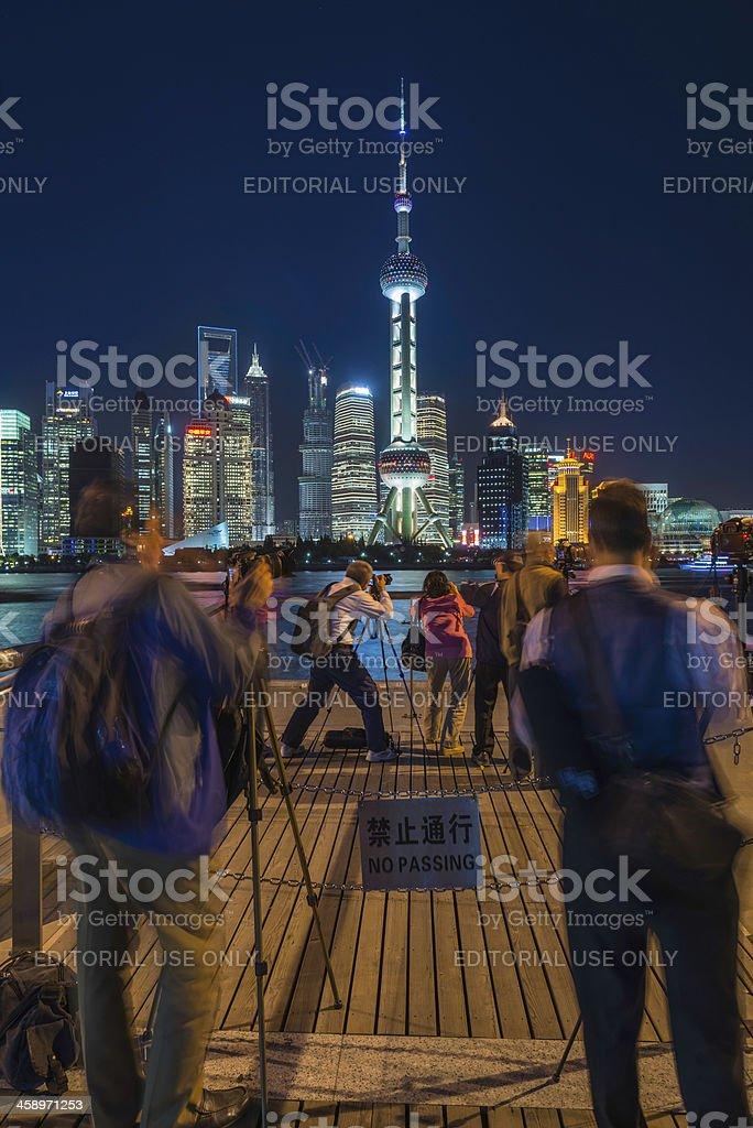 Shanghai Chinese amateur photographers shooting Pudong skyline stock photo