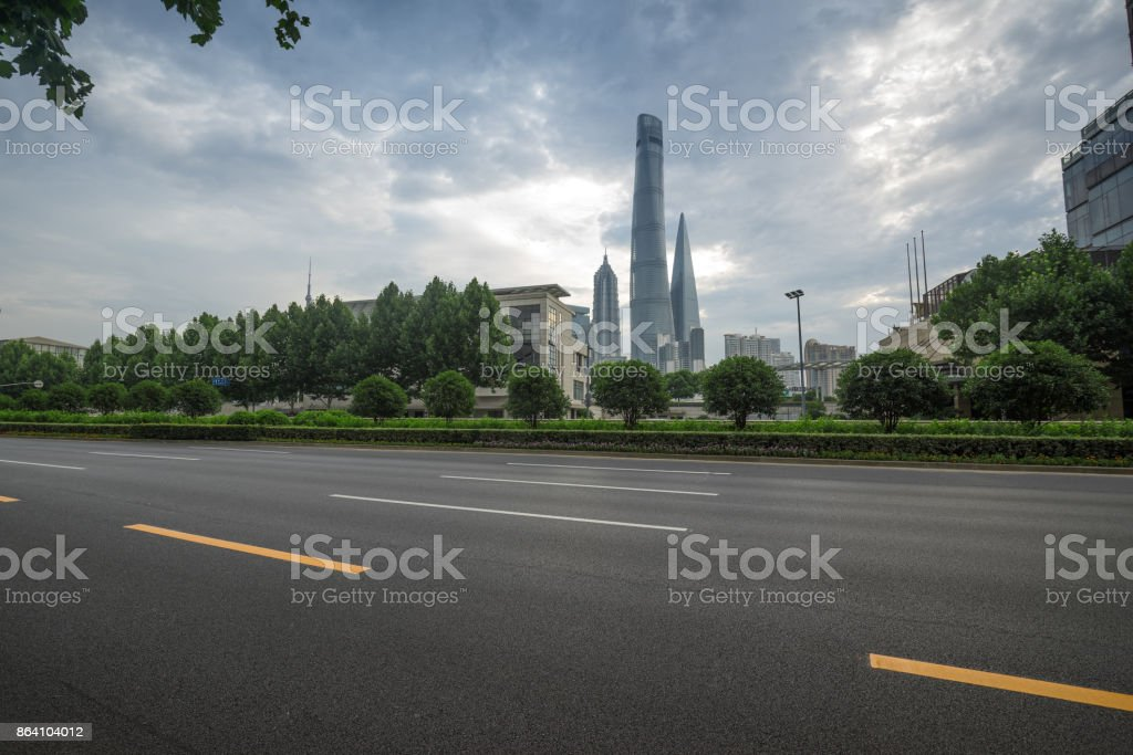 Shanghai city, architecture and roads royalty-free stock photo