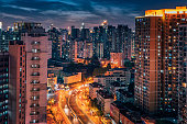 Shanghai city in the dawn