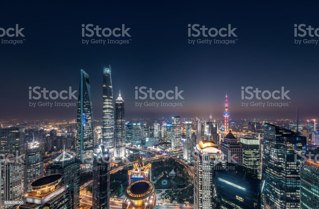 Shanghai city network stock photo