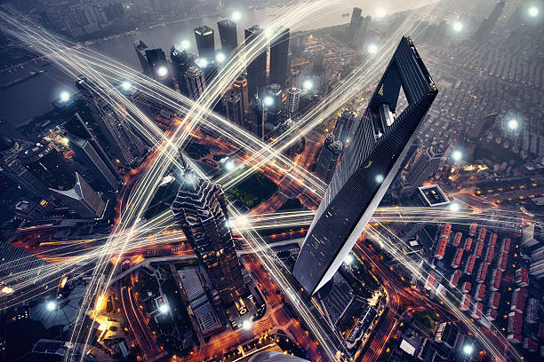 Shanghai city network technology stock photo