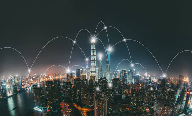 shanghai city network technology - smart city stock photos and pictures