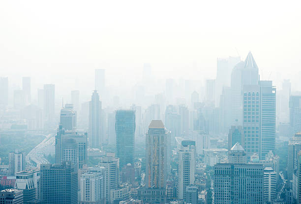 shanghai city - air pollution stock pictures, royalty-free photos & images