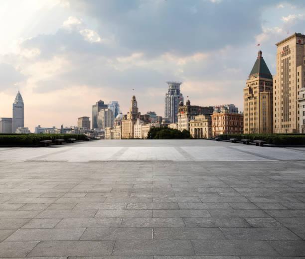 상하이 도시 경관과로. - 타운 스퀘어 뉴스 사진 이미지