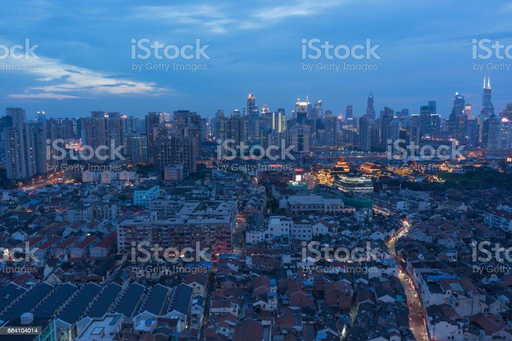 Shanghai city skyline at night stock photo