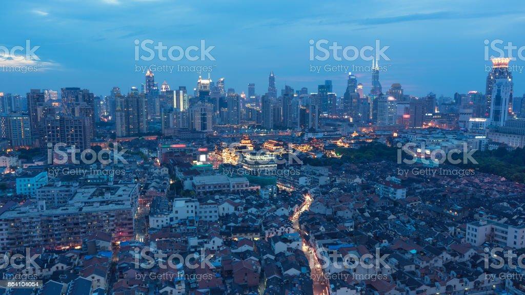 Shanghai city skyline at night royalty-free stock photo