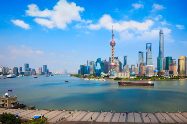 Shanghai city skyline Shanghai skyline, Panoramic view of shanghai skyline and huangpu river, Shanghai China pudong stock pictures, royalty-free photos & images