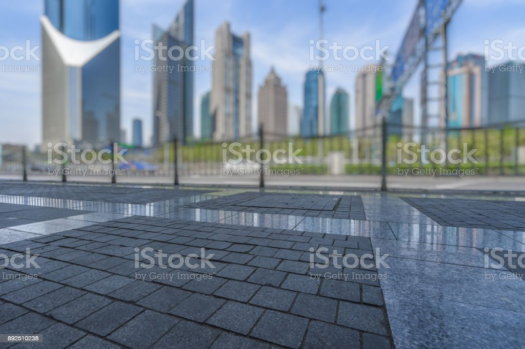 Shanghai city square and modern commercial building scenery stock photo