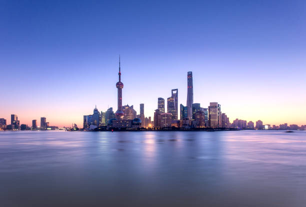 Shanghai cityscape and skyline at sunrise stock photo
