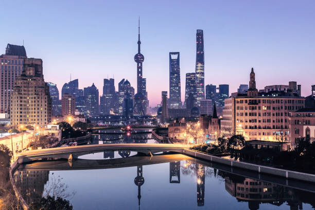 Shanghai cityscape and skyline at sunrise stock photo