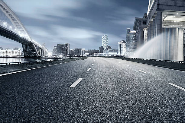 shanghai cityscape and urban road. stock photo