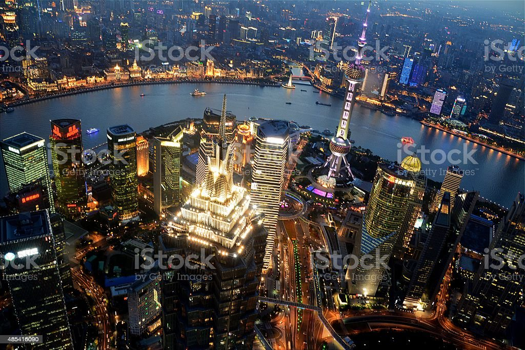 Shanghai cityscape at dusk stock photo