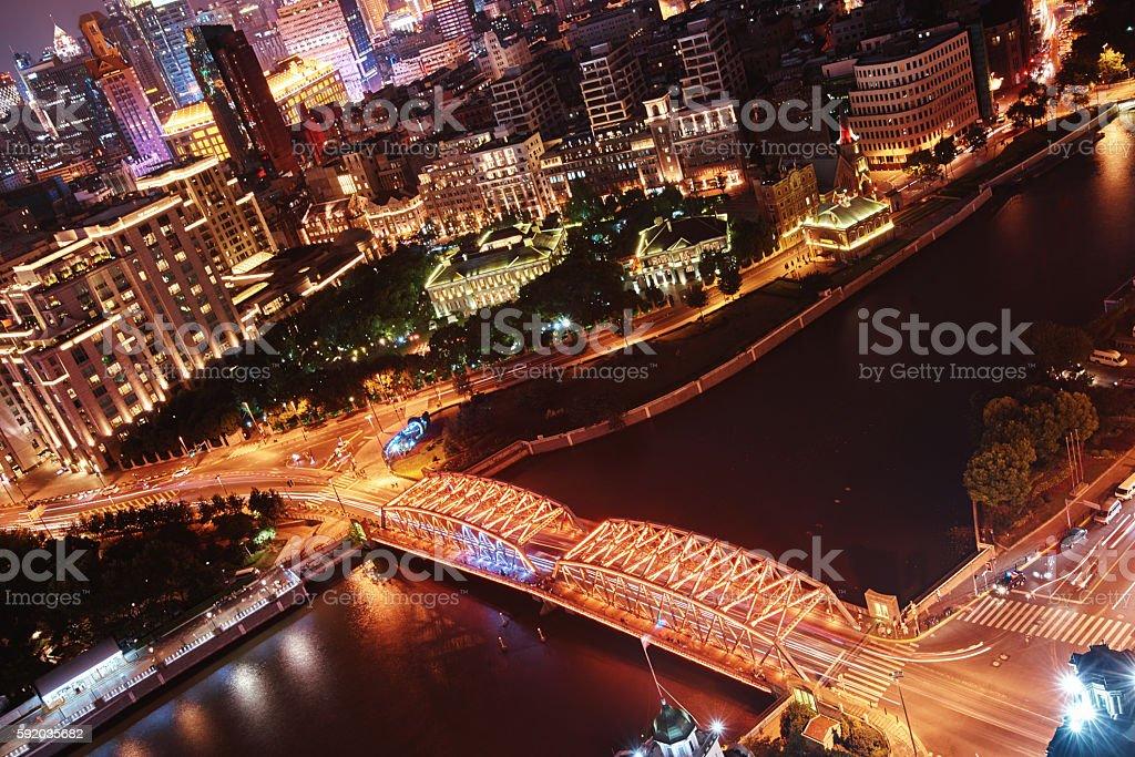 Shanghai cityscape at night stock photo