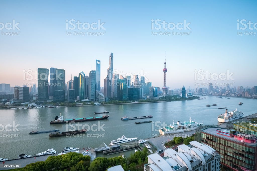 shanghai cityscape in morning - Royalty-free Aerial View Stock Photo