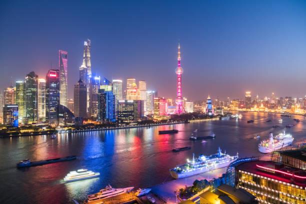 Shanghai Stadtbild bei Einbruch der Dunkelheit – Foto