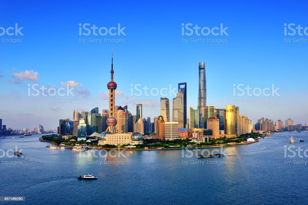 Shanghai Cityscape Panoramic at Sunset stock photo