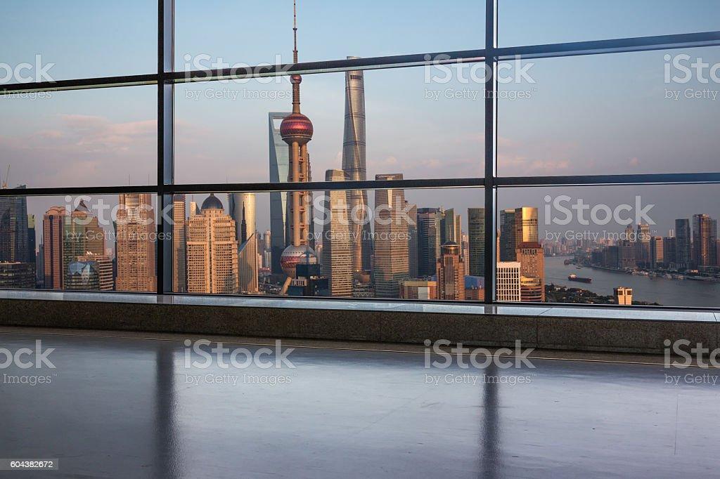 shanghai cityscape seen through window stock photo