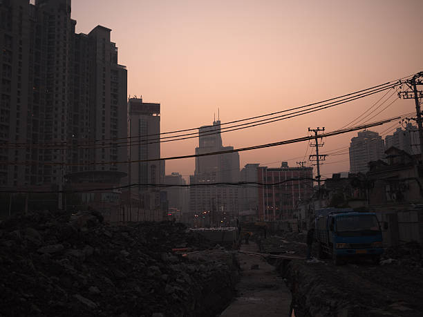 Shanghai Construction Site stock photo