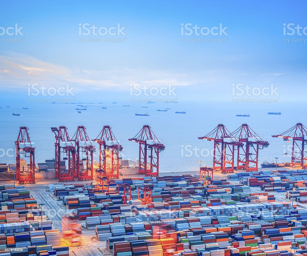 shanghai container terminal at dusk stock photo