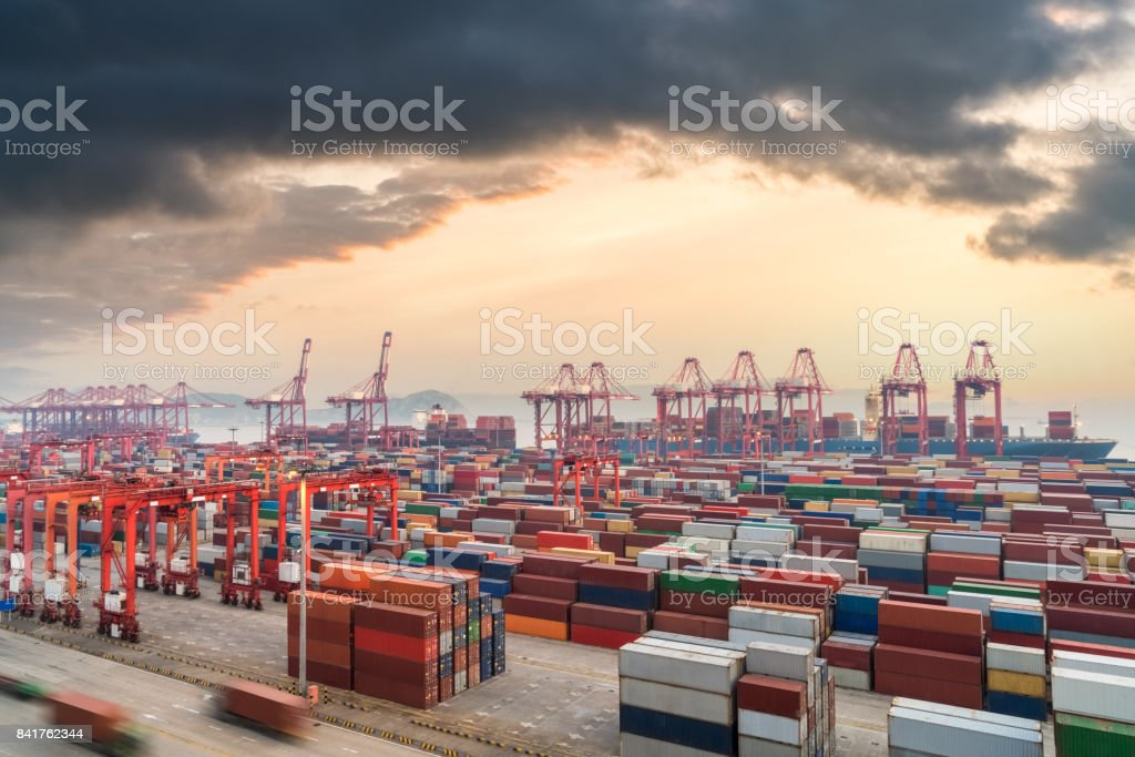shanghai container terminal in sunset stock photo