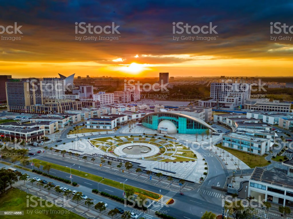 Shanghai Dishui Lake new district at sunset stock photo