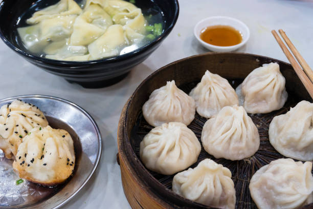 Shanghai dumpling, wonton and xiaolongbao stock photo
