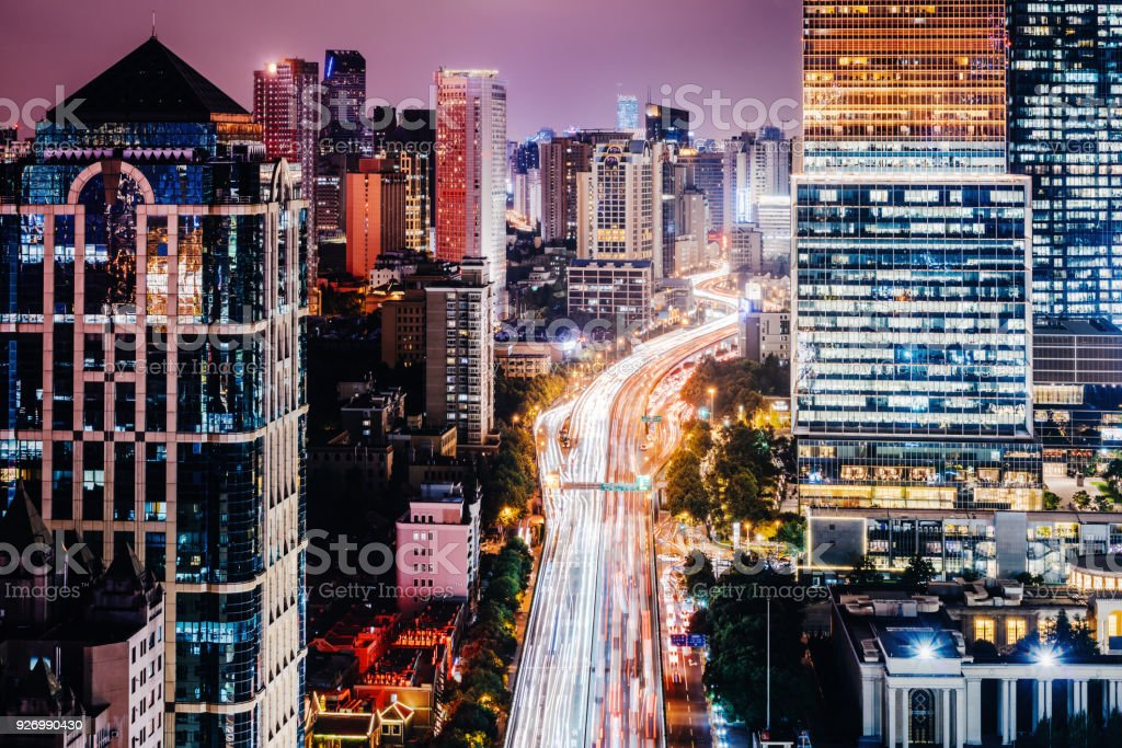 Shanghai elevated road junction at night. stock photo