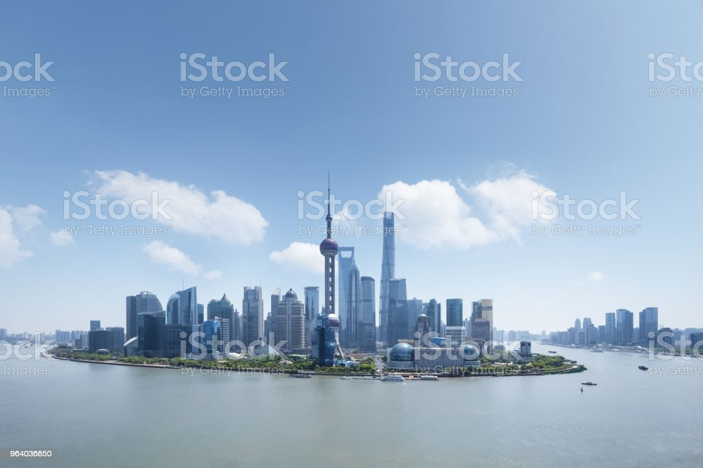 shanghai financial center against a blue sky - Royalty-free Aerial View Stock Photo