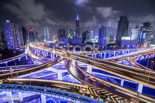 istock Shanghai Highway at Night 521345495