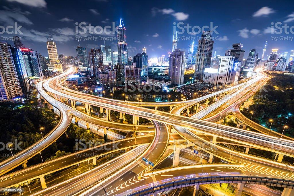 Shanghai Highway at Night royalty-free stock photo
