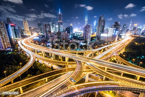 istock Shanghai Highway at Night 596065956