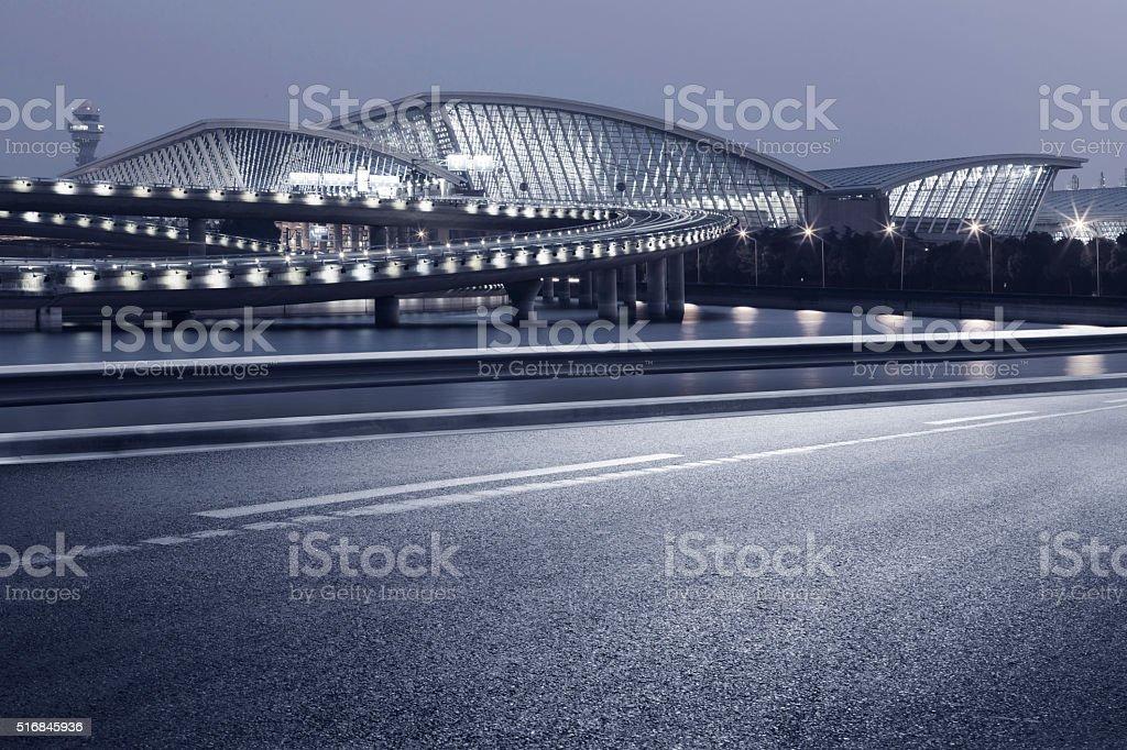 Shanghai hongqiao airport at night stock photo