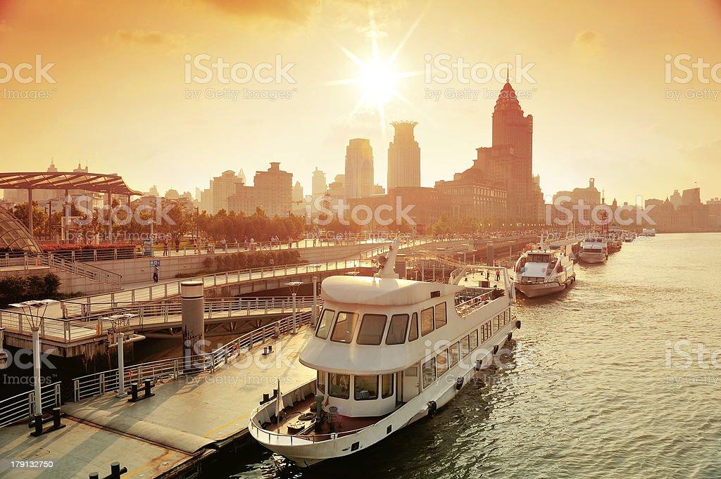 Shanghai Huangpu River with boat stock photo